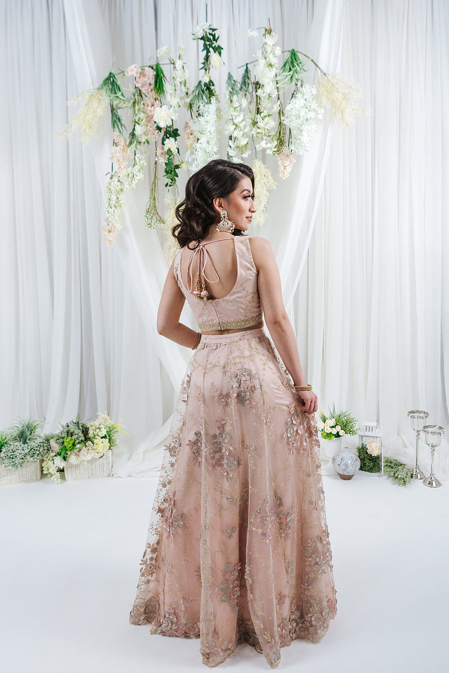 blush pink lehenga with floral details on net