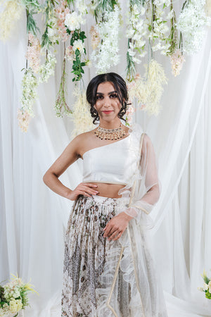 white net dupatta for lehenga