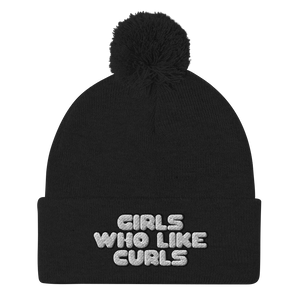 Girls Who Like Curls Pom Pom Beanie