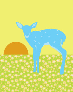 Blue Fawn - Baby Deer 8x10 Art Print - Great Nursery Art