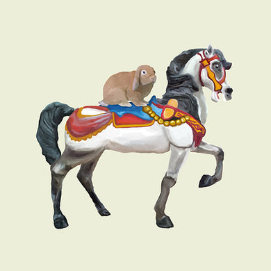 Bunny Rabbit on Carousel Horse 12x12 Giclee Fine Art Print by Jil Wright