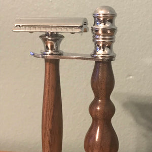 Razor & Stand Shaving Set Black Walnut