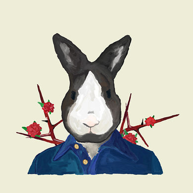 Bunny Rabbit in Clothes 12x12 Giclee Fine Art Print by Jil Wright