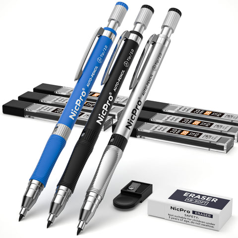 Nicpro 2mm Mechanical Pencil Set, 3 PCS Artist Drafting Clutch Pencil 2.0 mm for Art Drawing Writing Sketching with 6 Tube Pre-Sharpen HB & 2B Refill, Eraser, Sharpener, Propelling Lead Holder