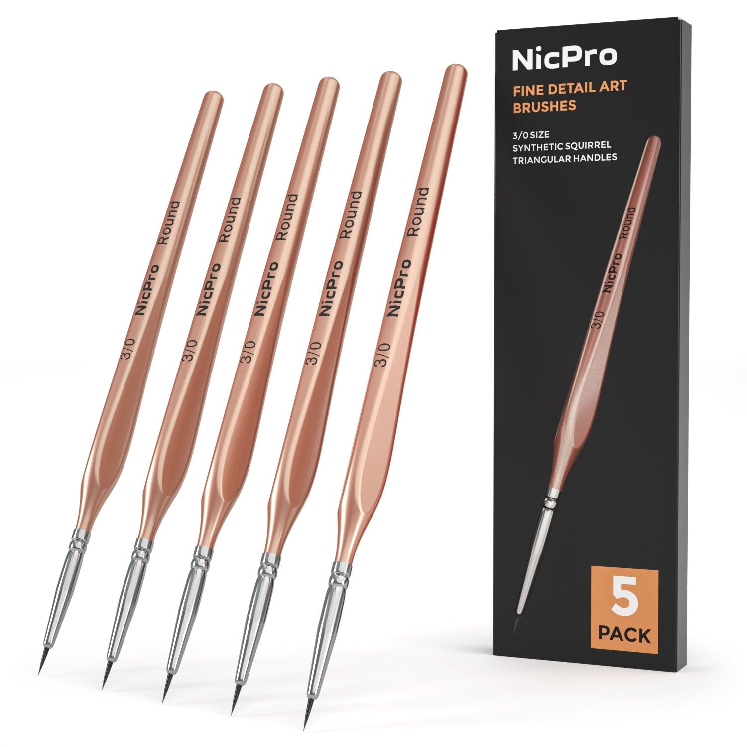 Nicpro Detail Paint Brushes 5 PCS Extra Fine Tip 000 Professional Miniature Painting Artist Set Round 3/0 for Micro Watercolor Oil Acrylic Craft Models Rock Army Paint By Number for Adult