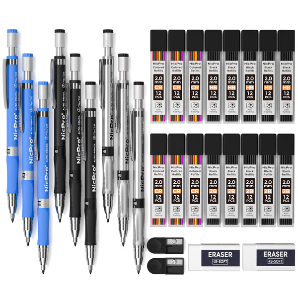 Nicpro 2.0 mm Mechanical Pencil Set, 9 Artist Carpenters Drafting Clutch Pencil for Drawing Writing Crafting Art Sketching with Colors HB & 2B Refill, Eraser, Sharpener, Propelling Lead Holder