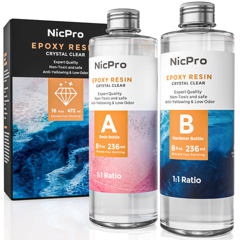 Nicpro Crystal Clear Epoxy Resin and Hardener Kit 16 Ounce, DIY Starter Art Resin for Craft, Tumblers, Canvas Painting, Molds Pigment River Tables Jewelry Making, Resin Coat and Cast