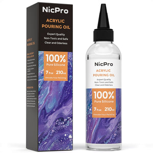 Nicpro Acrylic Pour Oil for Art, Pour Medium 7 oz.100% Silicone Liquid Pouring Supplies Compatible with All Acrylic or Watercolor Paints