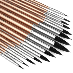 Nicpro 15 PCS Round Watercolor Paint Brushes Bulk, Professional Synthetic Squirrel Artist Painting Brush Set for Water Color Acrylic Oil, Detail, Model, Gouache, Ink, Art Paintbrush