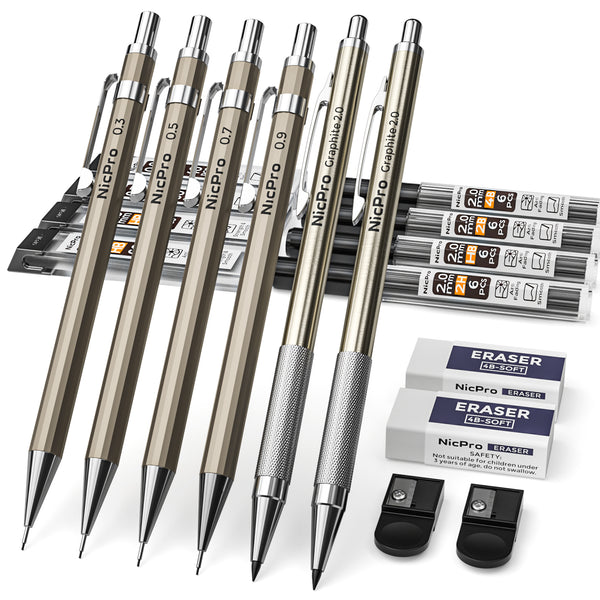 Nicpro 6 PCS Art Mechanical Pencils Set Metal, Drafting Pencil 0.3 & 0.5 & 0.7 & 0.9 mm and 2mm Lead Holder (4B 2B HB 2H) For Writing, Sketching Drawing,With 8 Tubes Lead Refills Erasers Sharpener