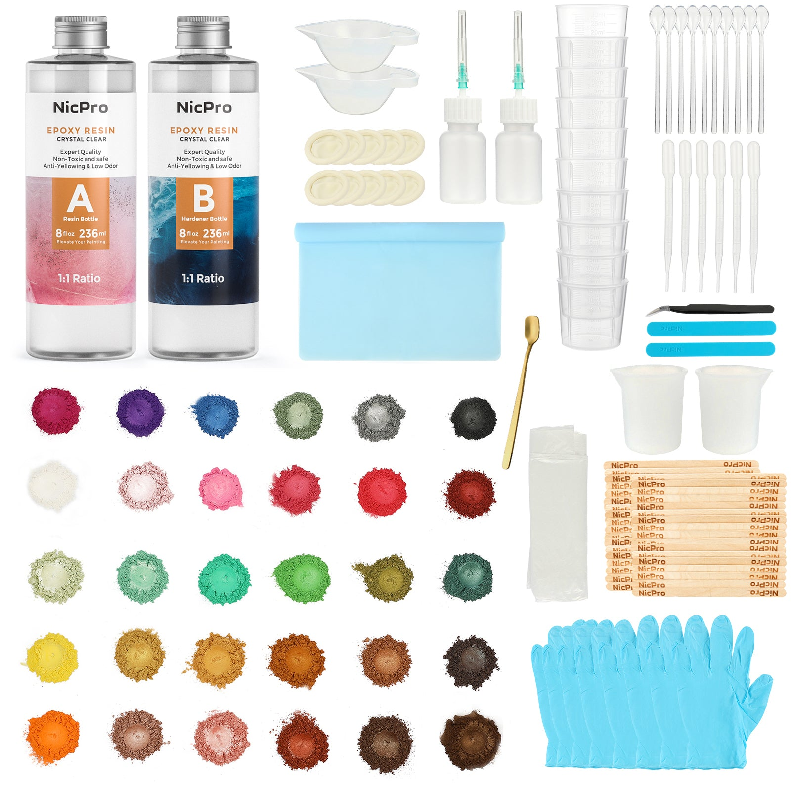 Clear Epoxy Resin Starter Kit 115 Pack, 16 Ounce Resin with 36 Colors Mica Powders Pigment, Measuring Cups, Silicone & Wood Stick Beginner Tools for Craft, Jewelry Making, Molds, Cast Pouring