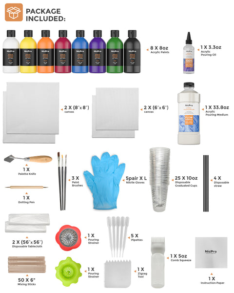 Nicpro 115 Pack Large Volume Acrylic Pouring Art Supplies , 8 Basic Colors 8 oz Acrylic Paints Set, Pouring Medium Starter Kit with Pour Oil, 4 Pack Canvases, Cups, Mixing Sticks, Gloves, Strainers, Brushes for Painting