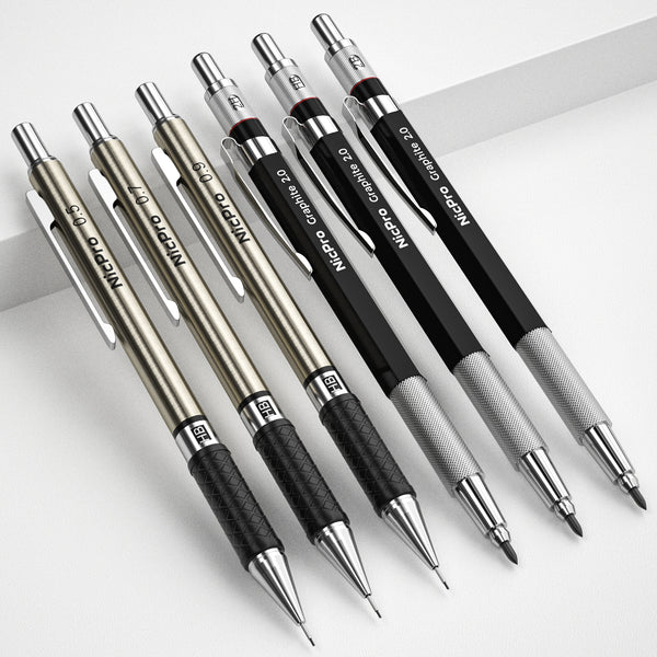 Nicpro 6PCS Art Mechanical Pencils Set, 3 PCS Metal Drafting Pencil 0.5 mm & 0.7 mm & 0.9 mm and 3 PCS 2mm Graphite Lead Holder (2B HB 2H) For Writing,Sketching Drawing,With 12 Tubes Lead Refills