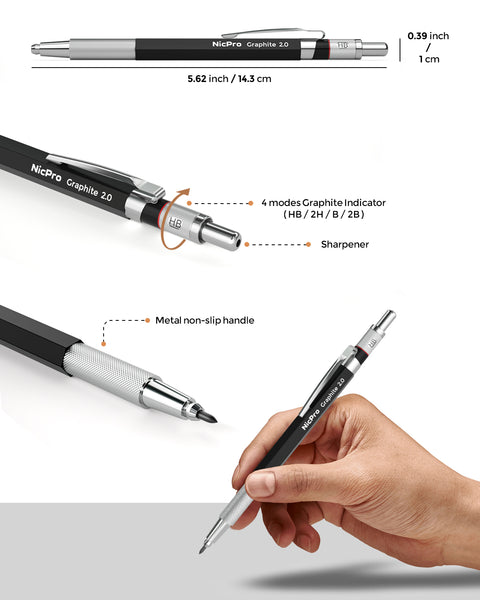 Nicpro 2mm Metal Mechanical Pencil Set, 2PCS 2.0 mm Artist Pencil with 10 Tube Graphite Lead Refill HB, 2H, 4H, 2B, 4B, 2 Eraser, 2 Sharpener for Draft Drawing, Writing, Crafting, Art Sketching