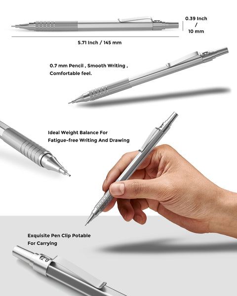 Nicpro 0.7 mm Mechanical Pencils Set, 3 PCS Metal Automatic Drafting Pencil Mechanical Pencil With 6 Tubes HB Pencil Leads And 3 Erasers For Writing Draft, Drawing, Sketch-Come With Case