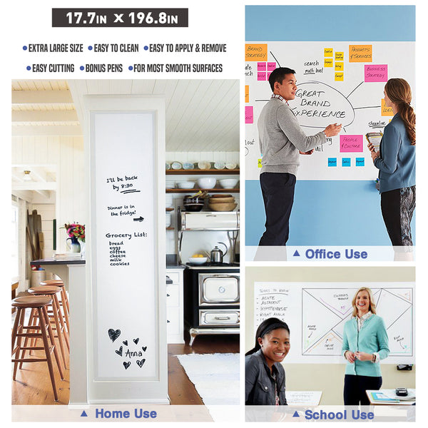 "Nicpro Extra Large White Contact Paper 17.7"" X 196.8"",Self-Adhesive Dry Erase Paper Film Whiteboard Sticker Wall Decal with 6 Color Water-Based Pens for Home Office"