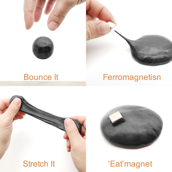 Nicpro Magnetic Slime Putty, Black Magnetic Thinking Putty Slime Supplies Space Toy Stress Reliever Kids Adults Fun 4 Monster Eyes