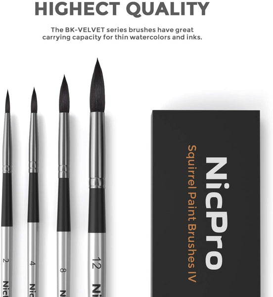 Nicpro 4 PCS Squirrel Watercolor Paint Brush Set, Professional Nature Hair Artist Mop Paint Brushes Round for Water Color , Acrylic Detail Painting