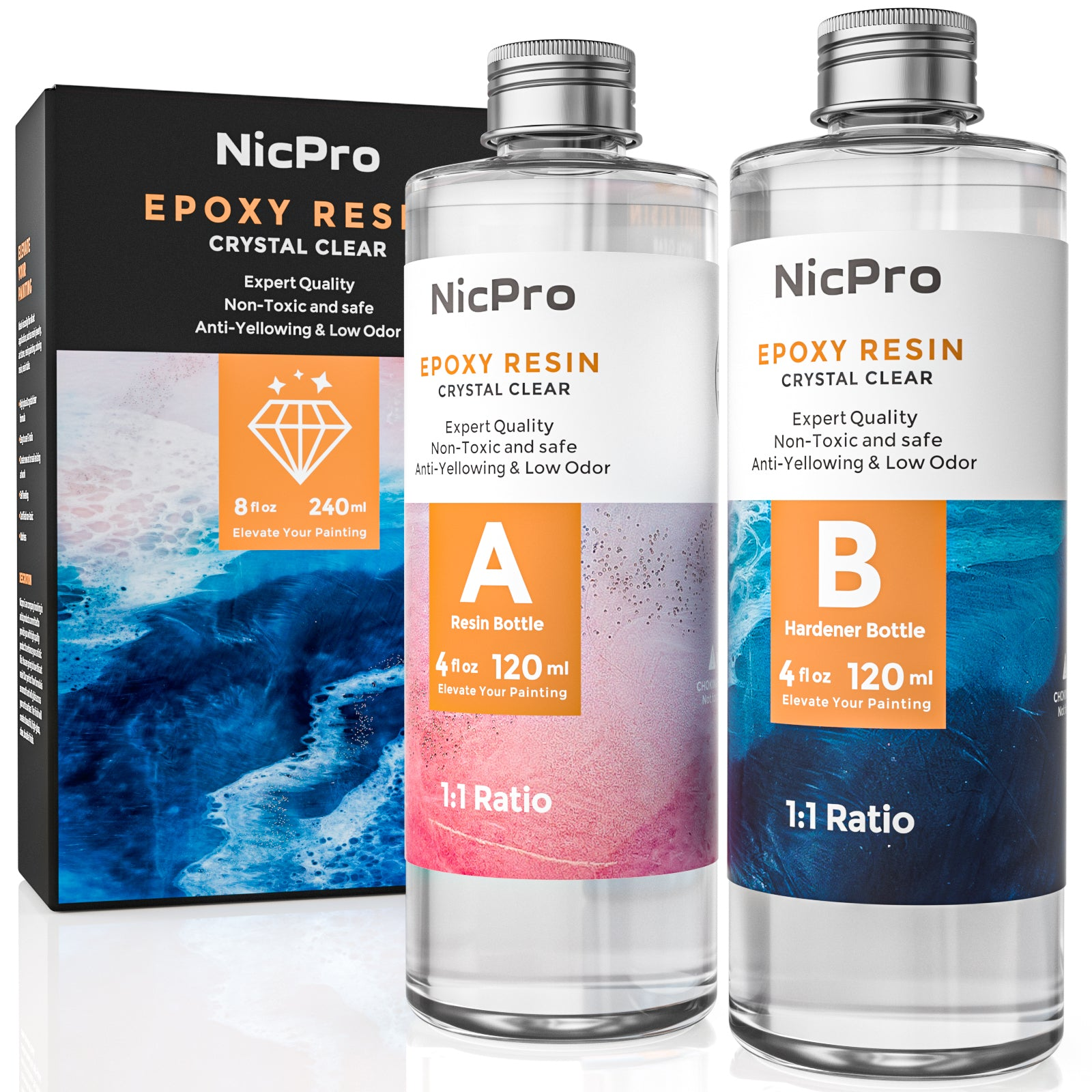 Nicpro Crystal Clear Epoxy Resin Kit 8 Ounce, DIY Starter Art Resin for Craft, Canvas Painting, Molds Pigment Jewelry Making, Resin Coating and Casting