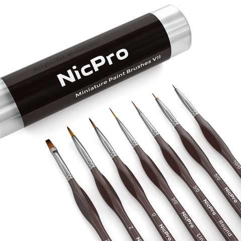 Nicpro 7 PCS Micro Detail Paint Brush Set, Professional Miniaturev Art Painting Brushes for Paint by Number Craft Models Watercolor Oil Acrylic