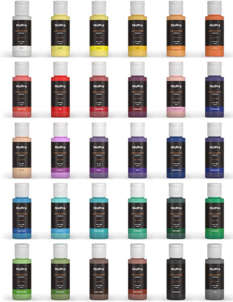 Nicpro 30 Colors Acrylic Paint Set/Tube(2 oz, 60ml) with 3 Brushes, Sponge & Paint Knife, Rich Pigments for Artist, Adults & Kids, Ideal for Canvas Wood Rock Crafts Model Fabric Ceramic Painting