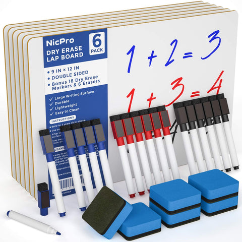 Nicpro 6 Pack Lapboard Small Dry Erase Lap Board 9 x 12 inches Double Sided with 18 Water-Based Pens and 6 Erasers Learning Mini Whiteboard Bulk Portable for Kid Student and Classroom Use