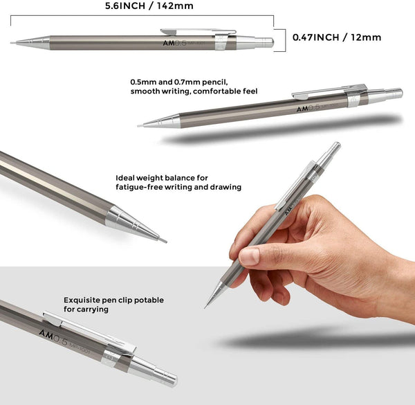 Nicpro 6PCS Mechanical Pencils Set, Cool Metal Drafting Pencil Bulk 0.5 & 0.7 mm With HB Lead Refills, Erasers Come With Case