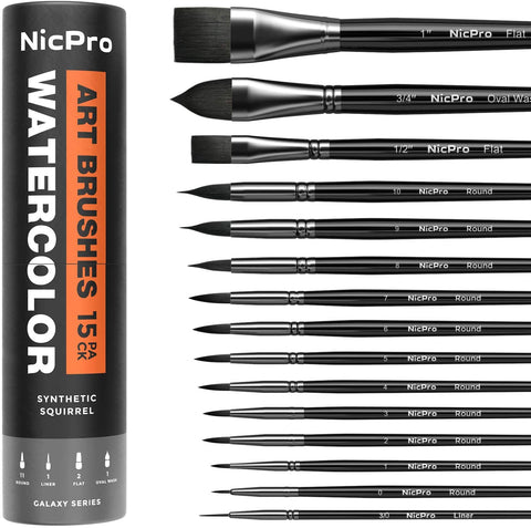 Nicpro 15 PCS Professional Watercolor Paint Brushes Set, Artist Squirrel Brush for Adult Detail, Gouache, Acrylic, Oil Painting