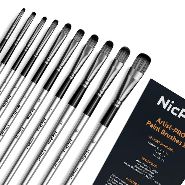 Nicpro 10 PCS Filbert Paint Brushes Art Painting Brush Set for Acrylic Watercolor Oil Gouache Canvas, Artist Kit for Kid & Adult