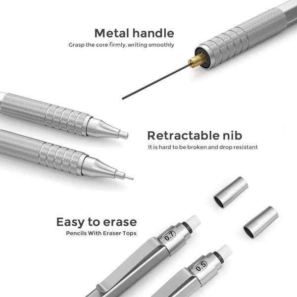 Nicpro Mechanical Pencils Set, Metal Automatic Drafting Pencil 0.5 mm and 0.7 mm Mechanical Pencil Graph With 4 Tubes HB Pencil Leads And 2 Erasers For Writing Draft, Drawing, Sketch -Come With Case