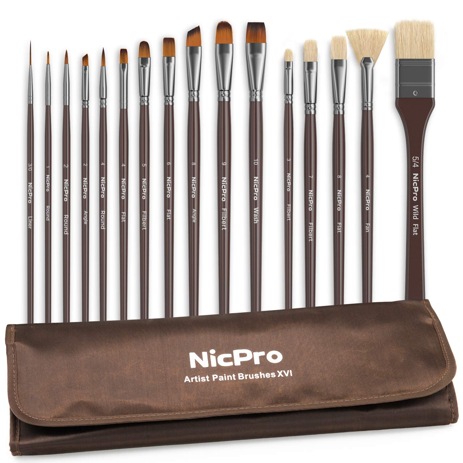 Nicpro Professional Paint Brushes for Acrylic Watercolor Oil Gouache Painting 16 PCS Art Brush Comb with Carrying Travel Bag