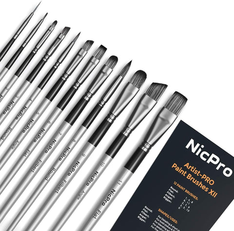 Nicpro 12 PCS Acrylic Paint Brushes Adult Art Paint Brush Set for Watercolor Oil Gouache Face Body Craft Miniatures Painting,Paintbrushes