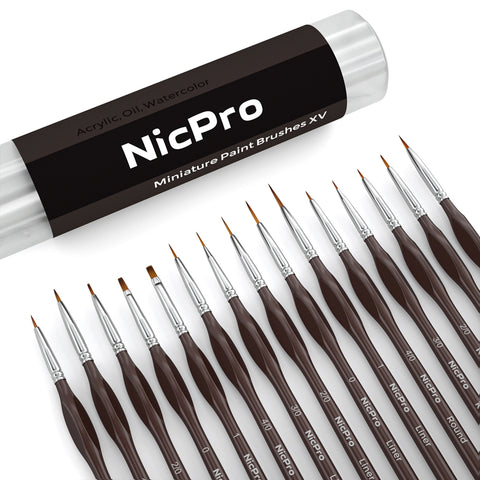 Nicpro Micro Detail Paint Brush Set,15 Tiny Professional Miniature Fine Detail Brushes Detailing Paint Kit for Spray Watercolor Oil Acrylic Craft Models Painting