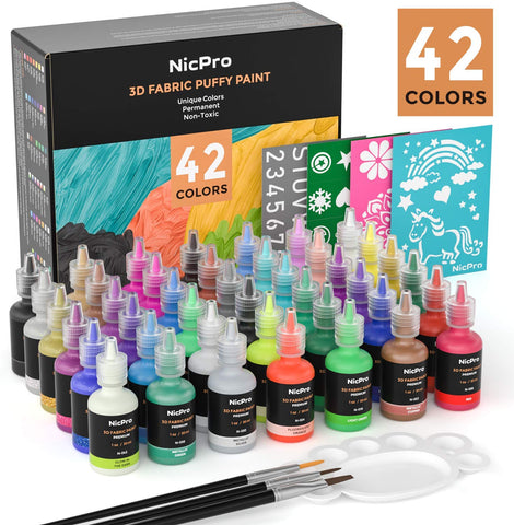 Nicpro 3D Fabric Paint Set ,42 Colors Puffy Paints with 3 Brushes and Stencils, Palette| Permanent Textile Paint Including Neon & Glitter& Metallic Glue Colors for Craft, T-Shirt, Glass and Wood