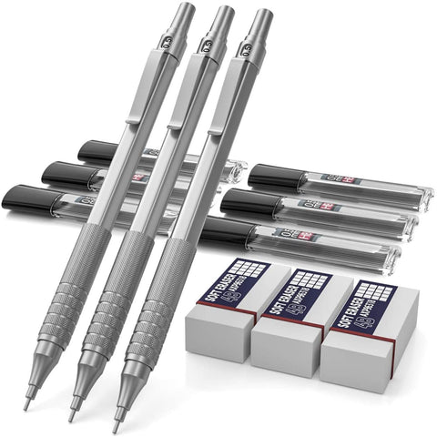 Nicpro 3 Pack 0.5 mm Mechanical Pencils Set, Metal Artist Pencil With HB Pencil Leads, Erasers Come With Case