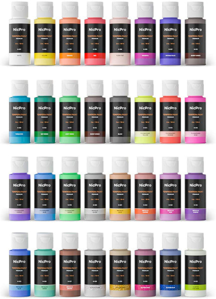 Nicpro Tempera Washable Paint for Kid, 32 Colors (2 oz/Tube) Liquid Finger Paint Kit with 3 Brushes Non Toxic for for Poster, Paper, Canvas & Art Craft DIY Projects