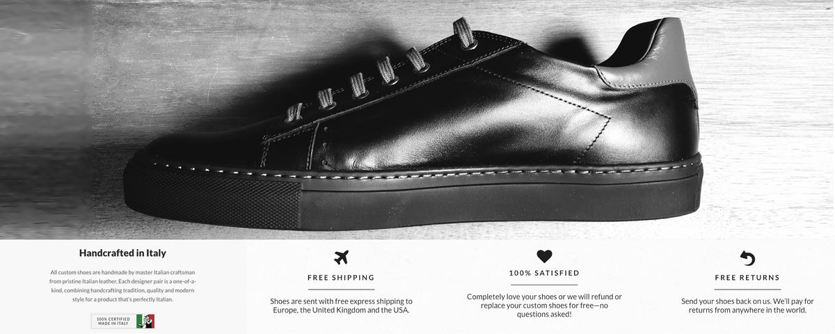Limited Edition Black leather italian sneaker luvart shoes