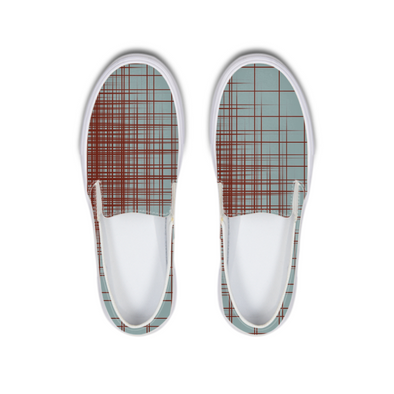 Brown Lines Slip-On Canvas Shoe - LuvArt Shoes Art Inspired and Custom Footwear Giving Back to the World