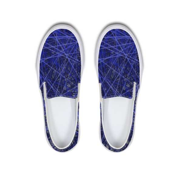 Blue Lines Slip-On Canvas Shoe - LuvArt Shoes Art Inspired and Custom Footwear Giving Back to the World