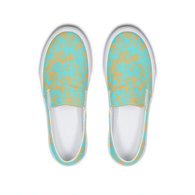 Teal Brown Slip-On Canvas Shoe - LuvArt Shoes Art Inspired and Custom Footwear Giving Back to the World