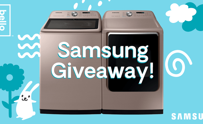 Win a Free Samsung Washer/Dryer AND a Year of Hello Bello Laundry Detergent!