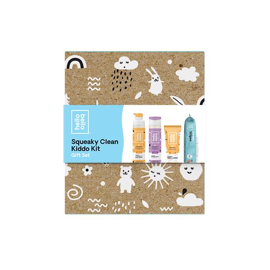 Squeaky Clean Kiddo Kit Gift Set. Includes Shampoo + Body Wash, Bubble Bath, Body Lotion, + Wipes