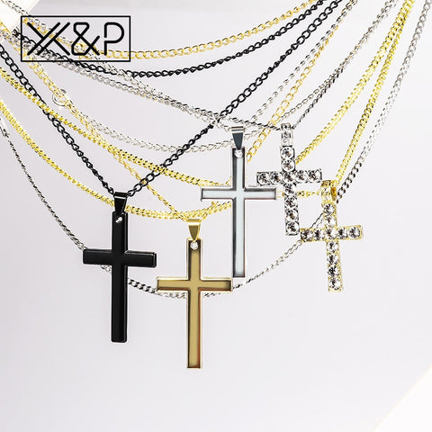 X&P Crystal Cross Long Gold Chains