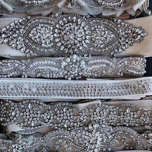 wedding dress belts pearl