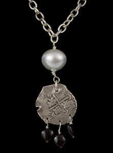 Outstanding Elegance - Antique Coin and South Pearl Necklace