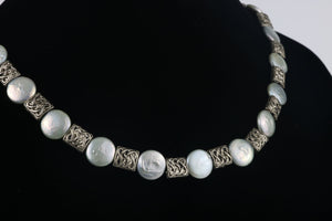 The Perfect Touch - Round Biwa Pearl and Pewter Necklace