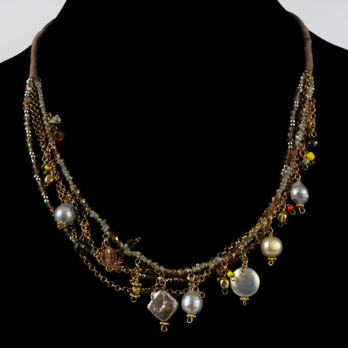 Exotic Beaded Multi Strand Necklace