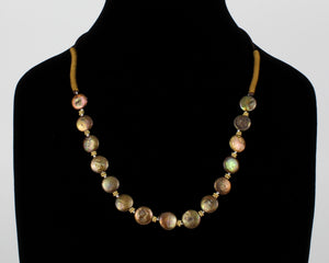Natural Biwa Pearl Necklace on Woven Clasp