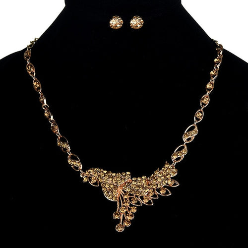 Peacock Statement Earring & Necklace Set