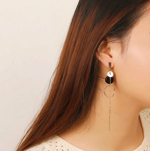 Artsy Long Circle Dangle Earrings